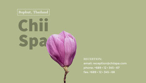 Pale Green and Purple Asian Spa Business Card with Flower Tarjeta de visita
