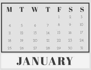 Gray January Calendar Kalenterit