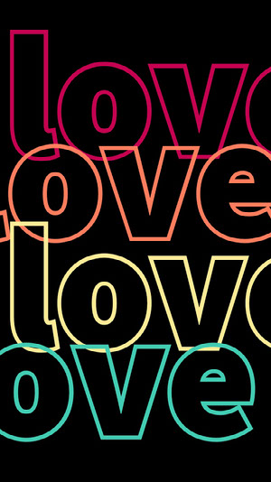Black Background and Colorful Neon Love Text Instagram Story Texto en fotos