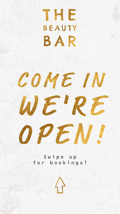 Gold and White Typography Beauty Salon Reopening Instagram Story Ad Beauty Salon