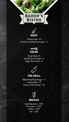 Black Baron's Bistro Menu Instagram Story  Restaurants