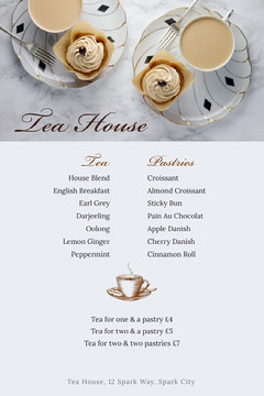 White and Beige Tea House Menu Drink Menu