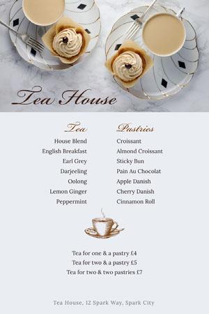 White and Beige Tea House Menu Drink Menu