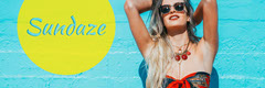 Yellow and Cyan Sunday Summer Pun Twitter Header Graphic with Woman Sunday