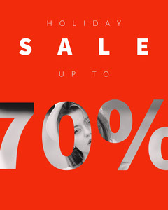 Red and White Minimalist Business Sale Instagram Portrait Ad with Woman Holiday Sale