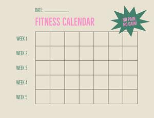 Beige Cream Fitness Calendar Grid Letter Landscape Workout Plan