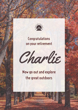 White With Park View Retirement Card Congratulations Messages