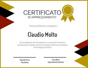 CERTIFICATO  Certificato
