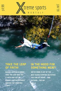 Yellow Extreme Sports Bungee Jumping Magazine Cover  Sports