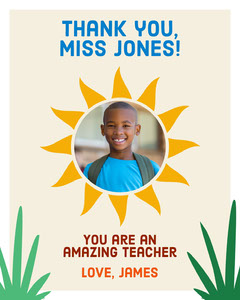 Colorful Sunshine Thank You Teacher Appreciation Card Classroom