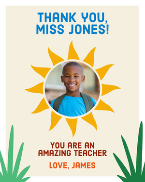 Illustrated Thank You Teacher Appreciation Card with Schoolboy Photo Teacher Appreciation Messages