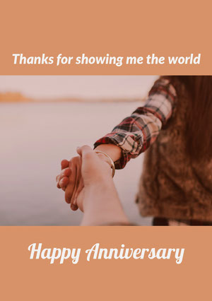 Brown and Loving Couple Anniversary Card Biglietto di anniversario