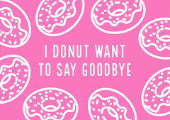 Pink and White Farewell Card Donut