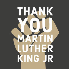 White, Beige and Black Mninmalistic, Symbolic Martin Luther King Appreciation Instagram Post Thank You Poster