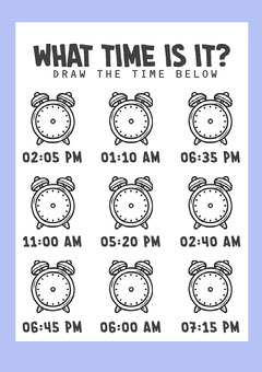Lilac and Black What Time Is It A4 Worksheet Teacher
