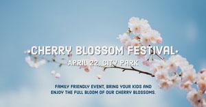 Light, Bright Toned Cherry Blossom Festival Ad Facebook Cover Portada de Facebook