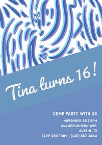 Blue Sweet Sixteen Birthday Invitation Card Birthday