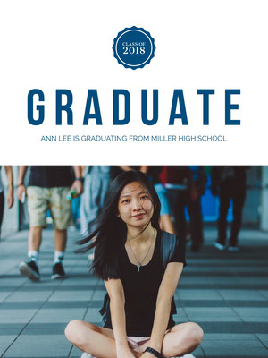 White and Blue Graduation Announcement Graphic with Photograph of Female Student Aankondiging