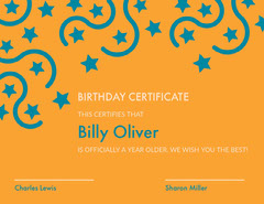 Orange and Blue Birthday Certificate with Stars Confetti