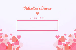Pink and White Floating Hearts Valentines Name tag Etichetta nome