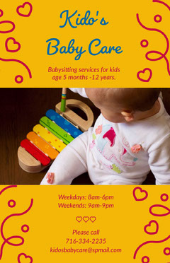 Yellow Babysitting Service Flyer with Photo of Playing Baby Baby's First Year