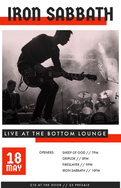 Rock Music Concert Event Poster with Picture of Band Performing Live Music Flyer
