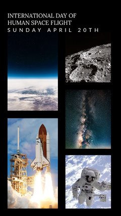Black and Blue Day of Human Space Flight Collage Instagram Story Space