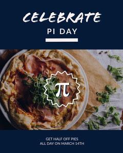 Blue Pi Day Celebration Social Post Pizza
