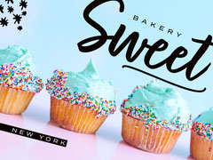 Colorful, Light Toned, Sweet Bakery Facebook Shop Banner Cupcake