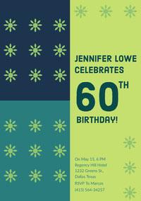 Green and Navy Blue Birthday Invitation Carte d'anniversaire avec citation