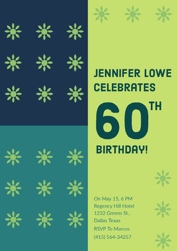 Green and Navy Blue Birthday Invitation Birthday Card with Quotes