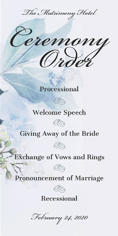 Blue Floral Calligraphy Wedding Program Rustic Wedding Invitation