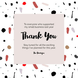 White Brown Red Pattern Thank You Small Business Support Instagram Square