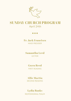 Gold and White Sunday Church Program Flyer with Dove Christianity