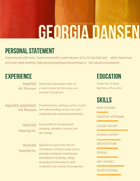 Orange Painter Resume Creative Resume