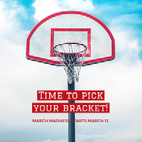 Red and Blue Basketball Season Start Square Ad Instagram Graphic with Hoop Basketball