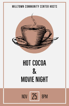 Brown Cocoa Cup and Movie Night Event Poster Movie Night Flyer