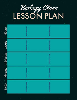 Black and Turquoise Biology Class School Lesson Plan Horario de clase