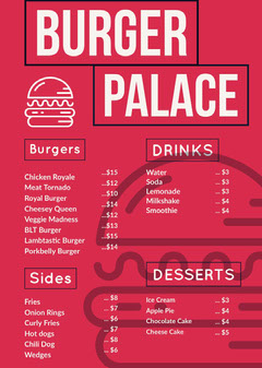 Pink and White Burger Palace Menu Burger