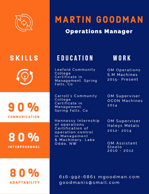 Blue White and Orange Operations Manager Resume Infographic Examples
