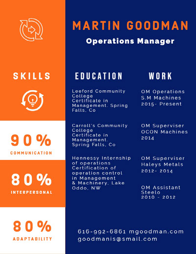 Blue White and Orange Operations Manager Resume Ideias de infográficos