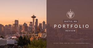 Seattle portfolio review banner ads  Flyer de anúncio
