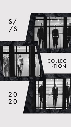 black and white shopping Instagram story New Collection