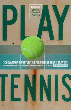 Green Tennis Player Scholarship Program Flyer with Ball and Court Tennis