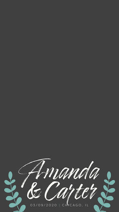 Blue Leaves with white Calligraphy Wedding Snapchat Geofilter Couple
