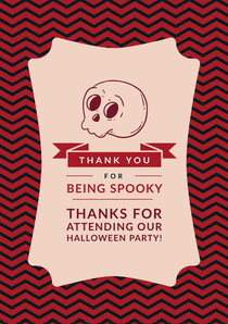 Pink Spooky Season Skull Halloween Party Thank You Card Scary