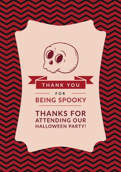 Spooky Season Skull Halloween Party Thank You Card Halloween Party Thank you Card