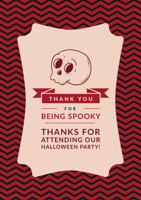 Pink Spooky Season Skull Halloween Party Thank You Card Thank You Card