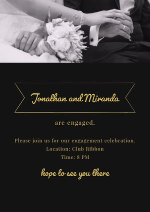 Black White and Yellow Engagement Party Invitation Kihlausilmoitus