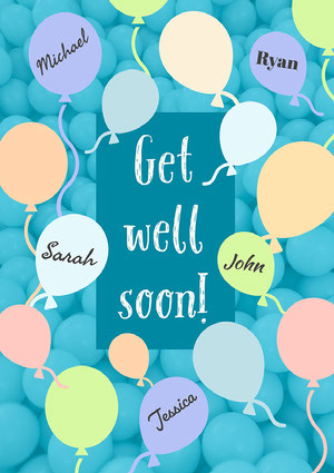 Blue and Pastel Get Well Soon Balloons - A4 God bedring-kort